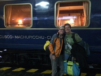 Christine & Linda with Hiram Bingham train, Machu Picchu