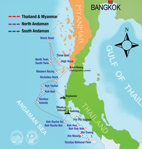 Thailand Aggressor Route Map